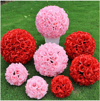 large silk flowers - 2016 New Artificial Encryption Rose Silk Flower Kissing Balls Large Hanging Ball Christmas Ornaments Wedding Party Decorations