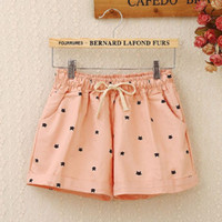 Womens Cartoon Print Summer Third Shorts Pants