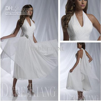 short beach wedding dresses 2014 summer sexy halter ruffle b...