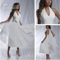 short beach wedding dresses 2014 summer sexy halter ruffle b...