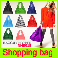 Wholesale New Candy color Japan Baggu Reusable Eco Friendly Shopping Tote Bag pouch Environment Safe Go Green square pocket Shopping bag A15H