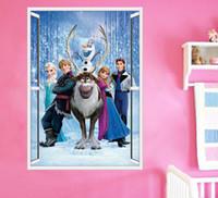 Wholesale 2014 New Arrival Children Cartoon Frozen Movie Anna Elsa Decal Removable Wall Sticks Home Decor Art Kids Bedroom Nursery DIY Toy I1418