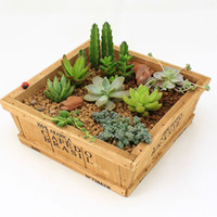 Wholesale ZAKKA Wood Flower Pots Planters Retro do old Square Flower Pots meaty plant woody floral organ Containers Wooden Box