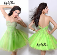Cheap 2014 New Design Short Mini Prom Gowns Sweetheart Crystal Corset Neon Green Organza Backless Angela And Alison Homecoming Dresses DL1312267