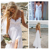 Cheap Summer Beach Spaghetti Strap Long Bohemian Wedding Dress with Lace Appliques Sexy Side Slit A-line Boho Bridal Gown D611