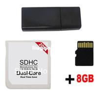 Wholesale 2014 White SDHC Dual Core Dual Core Adapter Game Flash Card Cards cart cartridge GB Micro SD MicroSD TF Memory Card