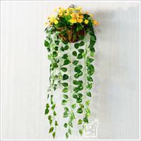 Wholesale Artificial Silk Plastic scindapsus aureus leaves vine Simulation hanging Flower Vines Simulation plants wedding party home Restaurant Decor
