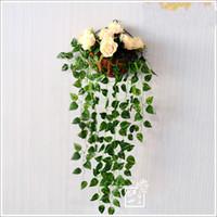 plastic vine - 90CM long Artificial Silk Plastic scindapsus aureus leaves vine Simulation hanging Flower Vines wedding party home Restaurant Decor