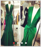 2014 Green Plunging V Neck Sheath Prom Dresses long ruched D...