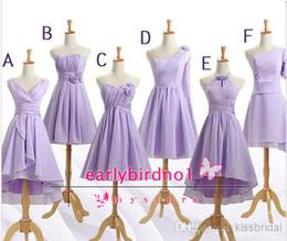 Wholesale Strapless Short Green Beach Dresses - 2014 Cheap Beach Lavender Bridesmaid Dresses Multi-Options V Neck Strapless Hand-made Flowers A-Line Short Chiffon Formal Gowns