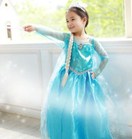 Wholesale 2014 Frozen Dress Snow Queen Princess Elsa Dresses Girls Dresse Long Sleeve Lace Gauze Sequin Dress Holiday Formal Party Dress C2409