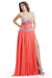 Wholesale Cheap Long Plus Size Prom Dresses Exposed Boning Sweetheart Lace Top with Crystal and A Line Split Side Chiffon Skirt Coral Plus Gowns