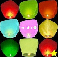 lantern paper - Pure Color Wishing Sky Lanterns Birthday Wedding Party Sky Lamp Flying Paper Wish Gift For Promotion