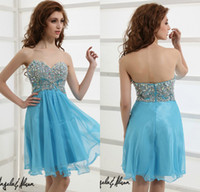 Cheap 2014 Sparkling Short Mini Custom Prom Gowns Sweetheart Crystal Corset Light Sky Blue Chiffon Angela And Alison Homecoming Dresses DL1312269