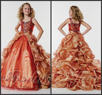 Wholesale 2014 Sweetheart Neck Detachable Train Ruched Embroidery Crystals Girls Formal Occasion Pageant Gowns A Line Organza Flower Girl Dresses