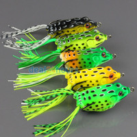 Wholesale 5pcs Topwater Frog Hollow Body Soft Fishing Lures Crankbait Bass Hooks Baits Tackle g cm colors available