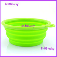 Wholesale High quality Silicone Foldable Travel Pet collapsible Bowl for dogs feeders