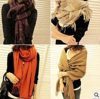 Cheap NEW HOT 2 autumn and winter women's cashmere yarn muffler scarf cape dual-use ultra long plaid scarf FREE SHIPPING