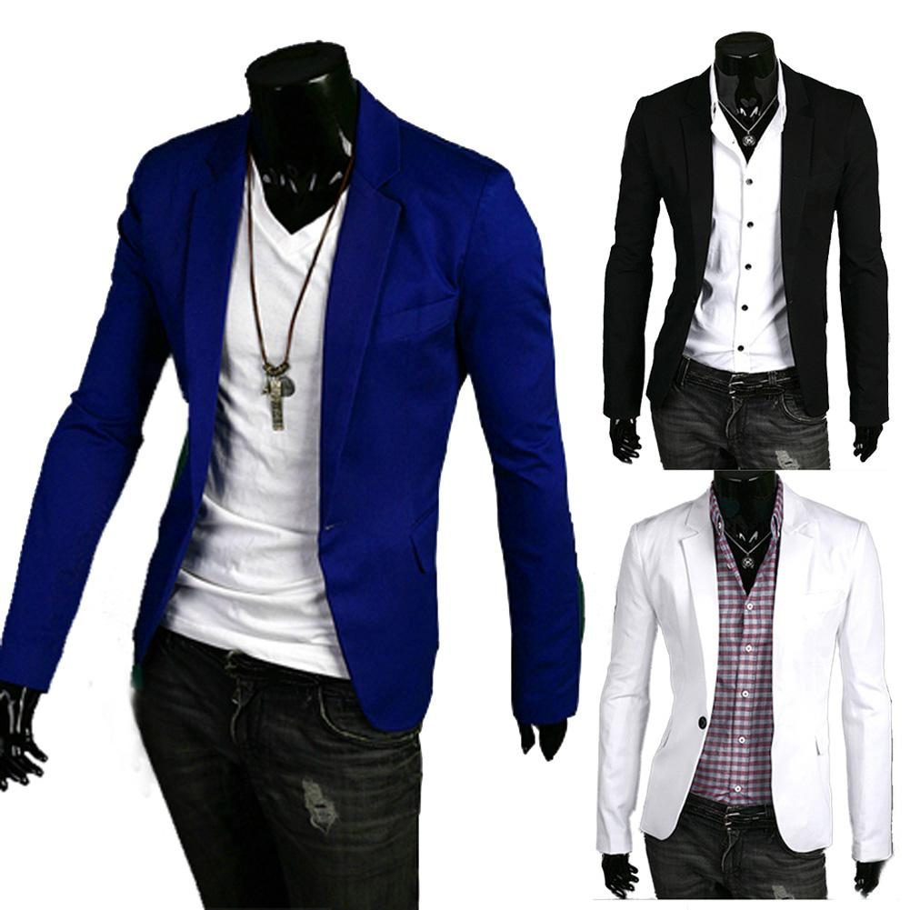 S5Q New Stylish Men's Casual Slim Fit One Button Suit Blazer Coat ...