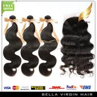 Brazilian Hair Body Wave Body Wave Silk Base Closure With Hair Weft Brazilian Virgin Human Hair Weaves Silk Base Closure(4*4) Full Head Natural Color Body Wave Free Shipping