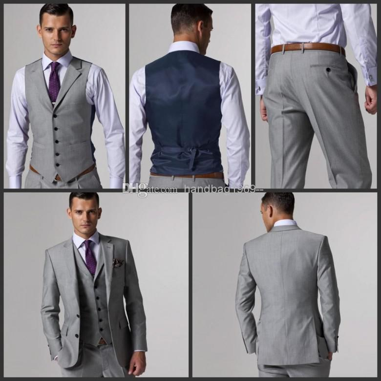 Custom Made Side Slit Two Buttons Light Grey Groom Tuxedos
