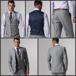 Wholesale Custom Made Side Slit Two Buttons Light Grey Groom Tuxedos Notch Lapel Best Man Groomsmen Men Wedding Suits Jacket Pants Tie Vest NO