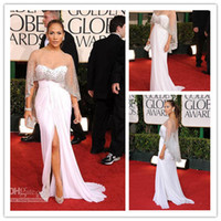 2011 prom - Jennifer Lopez White Chiffon Dress Golden Globes Front Slit Sweep Train Shawl Celebrity Dresses Prom Dress XR