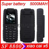 Wholesale Xiaocai X6 MTK6250D mAh Phone Flashlight Power Bank Mobile Phone Bar Dual Sim Card GSM Multi Language quad band