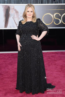 Wholesale LM Adele th Annual Academy Awards Red Carpet Pageant Dress Black Plus Size Sleeve Beading Fabric