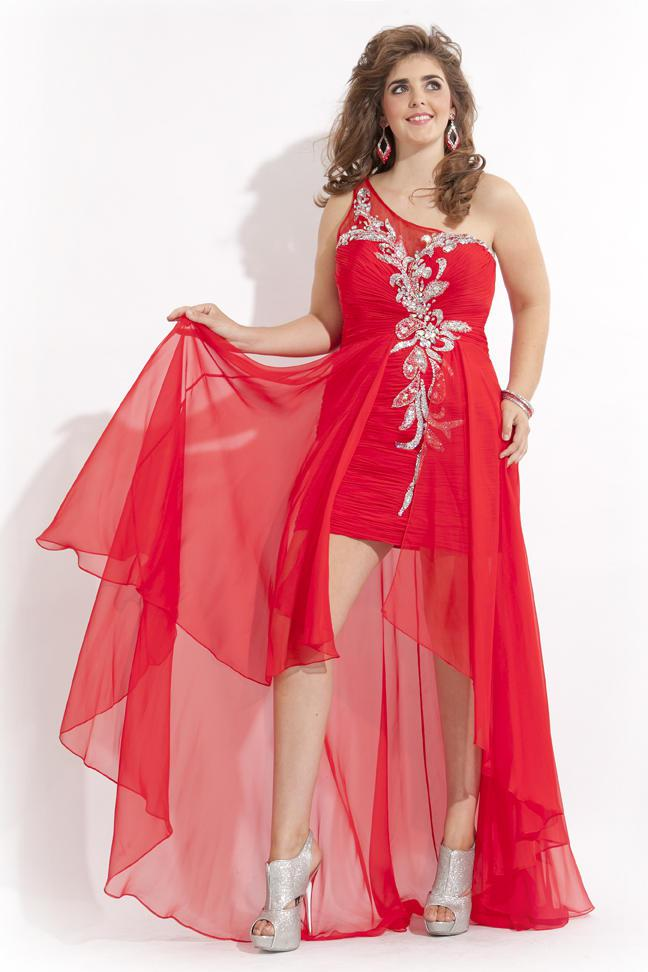 Red and silver plus size dresses