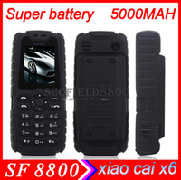 Wholesale super battery mAh Xiaocai X6 MTK6250DPhone Flashlight Power Bank Mobile Phone Bar Dual Sim Card GSM Multi Language quad band long standy