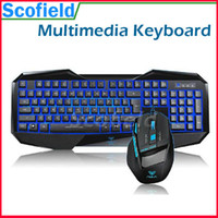 Wholesale AULA LED Backlit USB Gaming Multimedia Keyboard with D Wired Optical Gaming Mouse