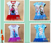TuTu Summer TUTU stockings EMS FEDEX discount summer dress 2014 baby girls dresses frozen Princess Gauze Anna Elsa kid apparel 14MAY56