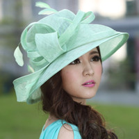 Wholesale Fashion Women Hat Summer Hat Sinamay Hat Church Hat Sinamay Lace Bow Sinamay Fabric Handmade Lace Hat Fashion Hat Green
