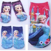 Wholesale Mixed babies kids socks by dozen Children Frozen Princess Elsa Or Anna Cartoon Ankle Sock Socks B22