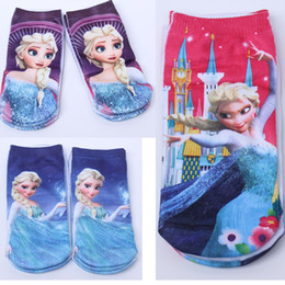 Wholesale Mixed babies kids socks by dozen Children Frozen Princess Elsa Or Anna Cartoon Ankle Sock Socks B22