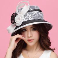 Wholesale Fashion Women Dress Summer Hat Black Sinamay Hat Lace White Church Hat Sinamay Sinamay Fabric Handmade Fashion Hat Summer Sun Hat