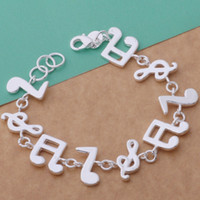 american band music - Hot Sale Silver Bracelets Music Symbol Chain Bracelets Bangles Wrist Bands Fashion Silver Jewellry