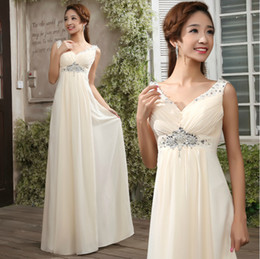 Stylish V-Neck A-Line Beading Zipper or Lace-up Back Floor Length Prom Dress Bridesmaid Dress