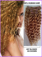 Wholesale Pieces Deep Curl Clip In Human Hair Extensions Clip On Hair Dark Blonde Color