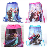 Wholesale 4 styles brand new frozen drawstring bags Anna Elsa backpacks handbags children school bags kids shopping bags present