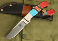 Wholesale Excellent quality Browning hunting knife survival straight knife Cr17Mov HRC Blade military knife knives suit with nylon sheath