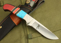 Wholesale Drop shipping Browning hunting knife survival straight knife Cr17Mov HRC Blade Cool Military knife knives with nylon sheath