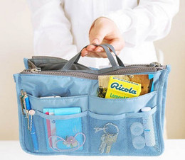 Women Travel Insert Handbag Cosmetic bags Organiser Purse Large liner Organizer Tidy Bag Pouch Storage Two Zipper Bag Bag in bag Dual