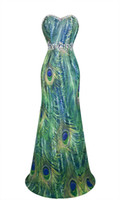 Wholesale Fashion Peacock Feather Rhinestone Chiffon Maxi Evening Party Dress S M L XL Green