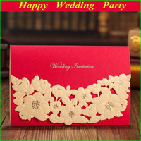 Invitations & Invitation Buckles Folded Red High Class Laser Cut Wedding Invitations 2014 Elegant Red Flower Card Invitation W Envelope Seal Wedding Favors