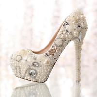 diamond wedding shoes - 2015 new fashion white beige flower Pearl bridal wedding dress shoes crystal diamond women pumps cm cm high heels shoes