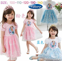Wholesale Summer New Children Girls Dressing Elsa Anna Cartoon Short Sleeve Girl Clothing Lace Dressy T
