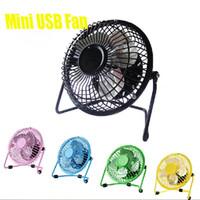 Cheap DHL Mini USB Electric 4 inch Metal Head Fan 360 Rotate Metel Mute Radiator Fan Mini Portable Cooler Cooling Desktop Power PC Laptop Desk Fan
