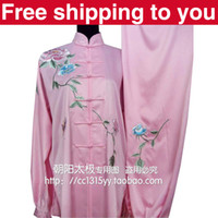 Wholesale Chinese Tai chi clothing tai ji sword suit morning performance set China rose embroidery women children little boy girl Pink